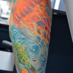 亀とクラゲのタトゥー,Jellyfish,turtle,Tattoo,刺青・タトゥースタジオ 女性彫師 恵華-Keika-
