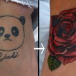 バラのカバーアップタトゥー,Rose,Cover up,Tattoo,刺青・タトゥースタジオ 女性彫師 恵華-Keika-