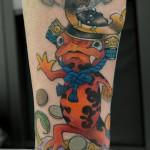 3本足ヤモリの和なタトゥー,Gecko,Japanese Tattoo,刺青・タトゥースタジオ 女性彫師 恵華-Keika-