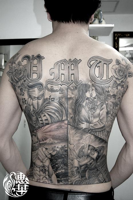 忍者、女子高生、鎧武者、自画像の背中一面タトゥー,Ninja,Samurai,High school girl,Self-portrait,Black&Gray,Tattoo,刺青・タトゥースタジオ 女性彫師 恵華-Keika-