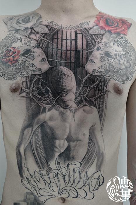 マスクと男性のブラック&グレータトゥー,Mask,Male,Black&Gray,Tattoo,刺青・タトゥースタジオ 女性彫師 恵華-Keika-