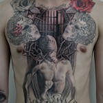 マスクと男性のブラック&グレータトゥー – Mask,Male,Black&Gray Tattoo