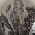 天使,悪魔,女性,ブラック&グレータトゥー, Angel,Devi,Black&Gray,Tattoo,女性彫師 恵華-Keika-