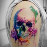 スカルの水彩タトゥー Skull,Watercolor,Tattoo,刺青・タトゥースタジオ 女性彫師 恵華-Keika-