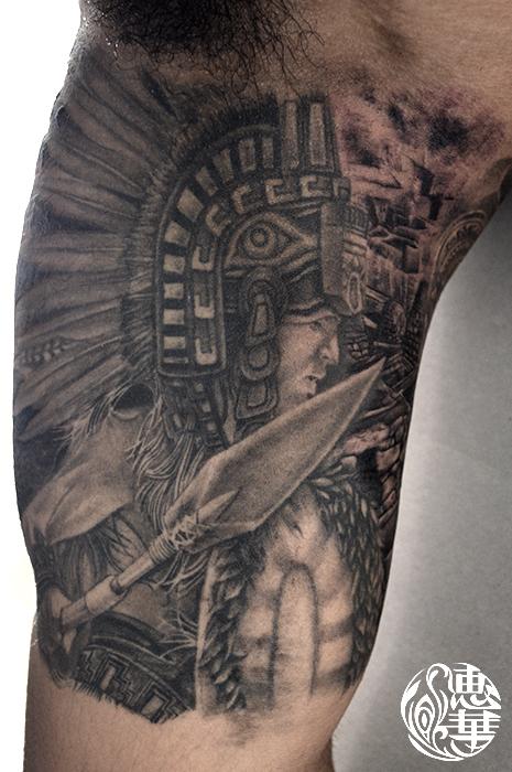 アステカの戦士のタトゥー Aztec Warrior Tattoo,刺青・タトゥースタジオ 女性彫師 恵華-Keika-
