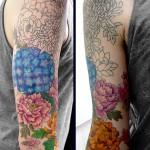 進捗 - アジサイと牡丹、日本の花タトゥー,Japanese Flower tattoo,女性彫師 恵華-Keika-