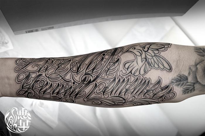 チカーノレターのタトゥー,Letter Tattoo,女性彫師 恵華-Keika-