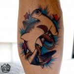 シュモクザメのアメリカントラディショナルタトゥー,Hammerhead shark Tattoo,女性彫師 恵華-Keika-
