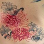 彼岸花とユリのタトゥー,cluster amaryllis,Lily,Flower,Tattoo,刺青・タトゥースタジオ 女性彫師 恵華-Keika-