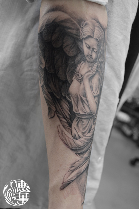 天使のブラック&グレータトゥー,Angel,Black&Gray,Tattoo,刺青・タトゥースタジオ 女性彫師 恵華-Keika-