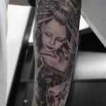 花魁芸者のタトゥー – Geisha,Black&Gray Tattoo