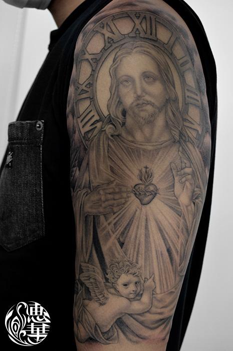 キリストのブラック&グレータトゥー,Jesus,Black&Gray,Tattoo,刺青・タトゥースタジオ 女性彫師 恵華-Keika-