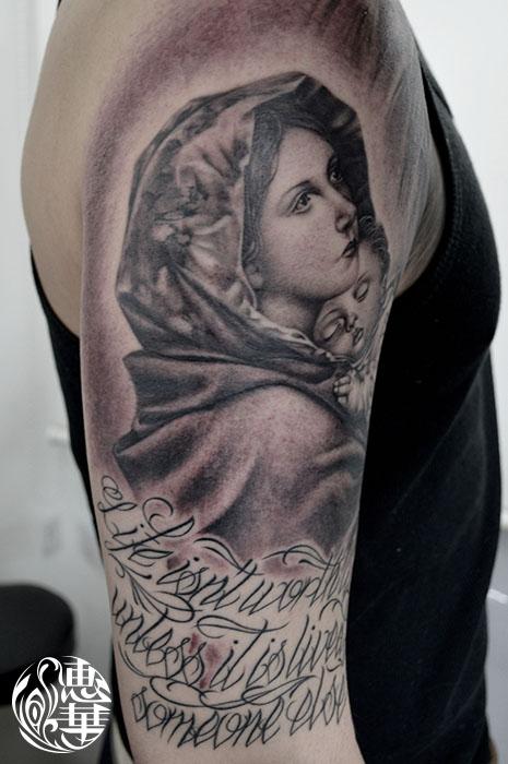 マリアのブラック&グレータトゥー,Virgin Mary,Black&Gray,Tattoo,刺青・タトゥースタジオ 女性彫師 恵華-Keika-