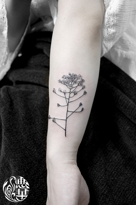 ナズナの花タトゥー,shepherd's purse,Flower,Tattoo,刺青・タトゥースタジオ 女性彫師 恵華-Keika-