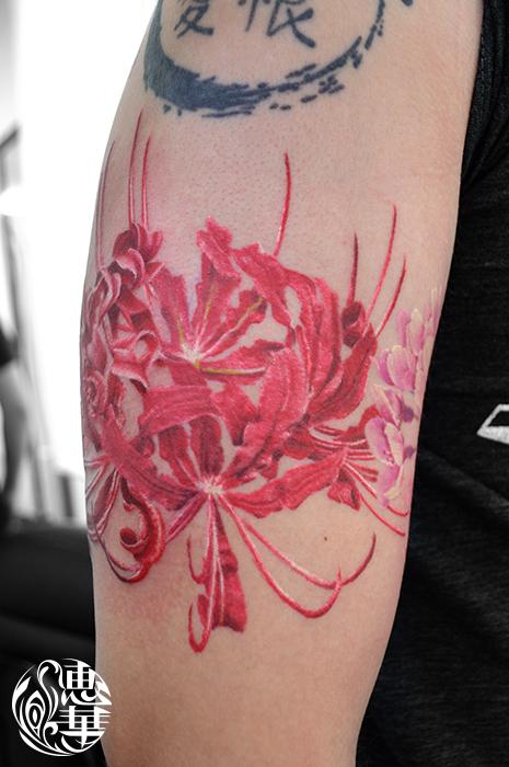 彼岸花のタトゥー,cluster amaryllis,Flower,Tattoo,刺青・タトゥースタジオ 女性彫師 恵華-Keika-