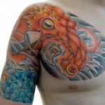 タコと菊の和彫り刺青 – Octopus,chrysanthemum,Japanese Tattoo