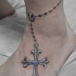 クロスアンクレットのタトゥー,Cross,anklet,Tattoo,刺青・タトゥースタジオ 女性彫師 恵華-Keika-
