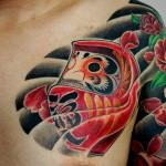 達磨、たぬき、招き猫に椿の和彫り刺青 – Daruma,Tanuki,Luckey cat,camellia,Japanese Tattoo