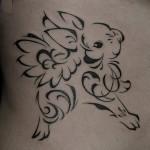 ウサギのトライバルタトゥー,Rabbit Tattoo,刺青・タトゥースタジオ 女性彫師 恵華-Keika-