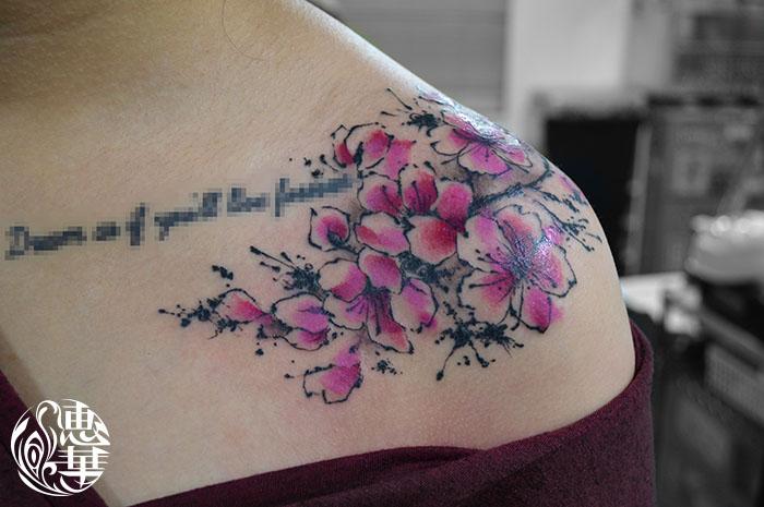 桜の水彩タトゥー,Cherryblossom,Watercolor,Tattoo,刺青・タトゥースタジオ 女性彫師 恵華-Keika-