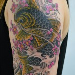鯉に桜の和彫り刺青 – Koi fish,Cherryblossom,Japanese Tattoo