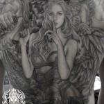 天使と悪魔,女性のブラック&グレータトゥー – Angel,Devil,Girl,Black&Gray Tattoo