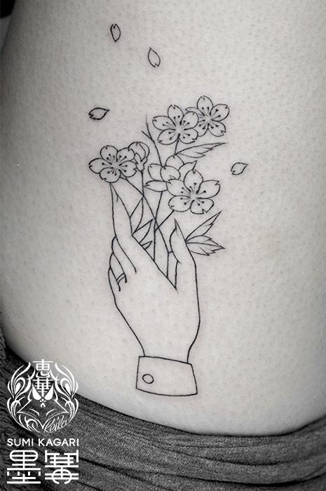 手と桜のタトゥー,Hand,Sakura,タトゥー,刺青,Tattoo,刺青,タトゥースタジオ,女性彫師,彫師,恵華,Keika