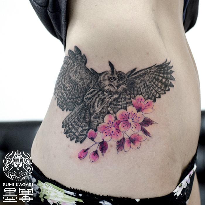 フクロウと桜のタトゥー HornOwl CherryBlossom Tattoo,刺青・タトゥースタジオ 女性彫師 恵華-Keika-