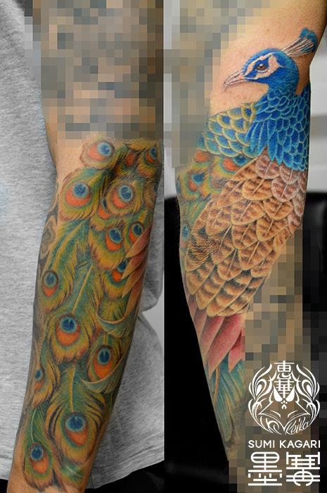 クジャクのタトゥー Peacock Tattoo,刺青・タトゥースタジオ 女性彫師 恵華-Keika-