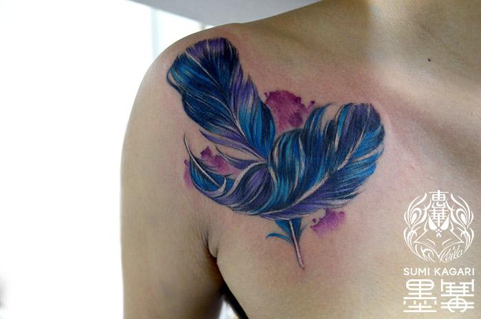 羽の水彩タトゥー Feather Watercolor Tattoo Tattoo,刺青・タトゥースタジオ 女性彫師 恵華-Keika-