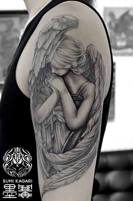 天使,ブラック&グレータトゥー,タトゥー,刺青,Tattoo,刺青,タトゥースタジオ,女性彫師,彫師,恵華,Keika