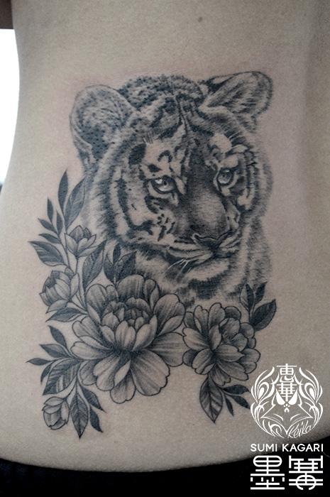 虎,トラ,花,タトゥー,刺青,Tattoo,刺青,タトゥースタジオ,女性彫師,彫師,恵華,Keika