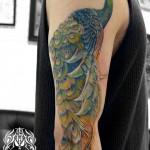 クジャクのタトゥー,Peacock,Tattoo,刺青,タトゥースタジオ,女性彫師,恵華,Keika
