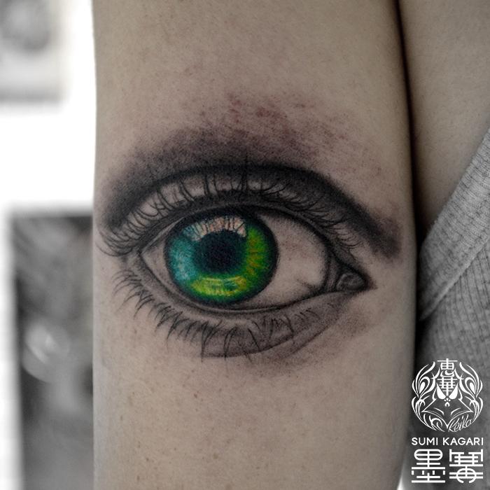 リアルな目タトゥー,Eye,Tattoo,刺青,タトゥースタジオ,女性彫師,恵華,Keika