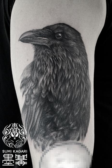 カラスのブラック&グレータトゥー,Raven,Black&gray,Tattoo,刺青,タトゥースタジオ,女性彫師,恵華,Keika